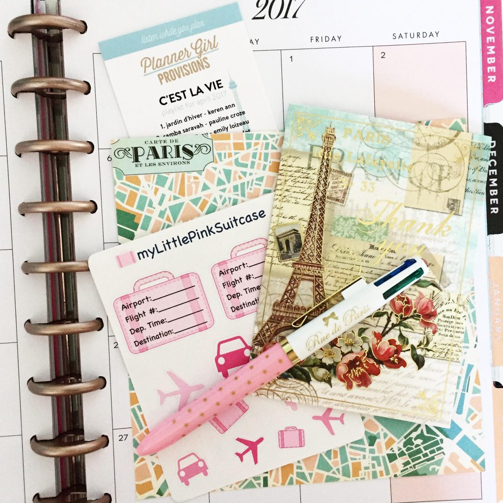 "The theme for the April Planner Girl Provisions Stationery Subscription Box is ""C'est La Vie."" The box is filled with Parisian, travel, and fashion themed stationery and planner goodies ."