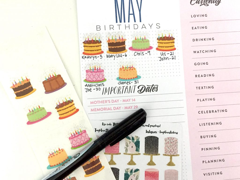 Birthday Cake Stickers to mark birthdays on Happy Planner monthly dashboard pages