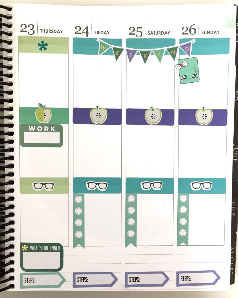 Use icon stickers for headers in your planner.