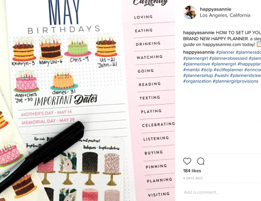 Happy As Annie's Instagram post of her Happy Planner. Using birthday cake stickers is a fun way to mark birthdays on the monthly dashboard pages in the Happy Planner.
