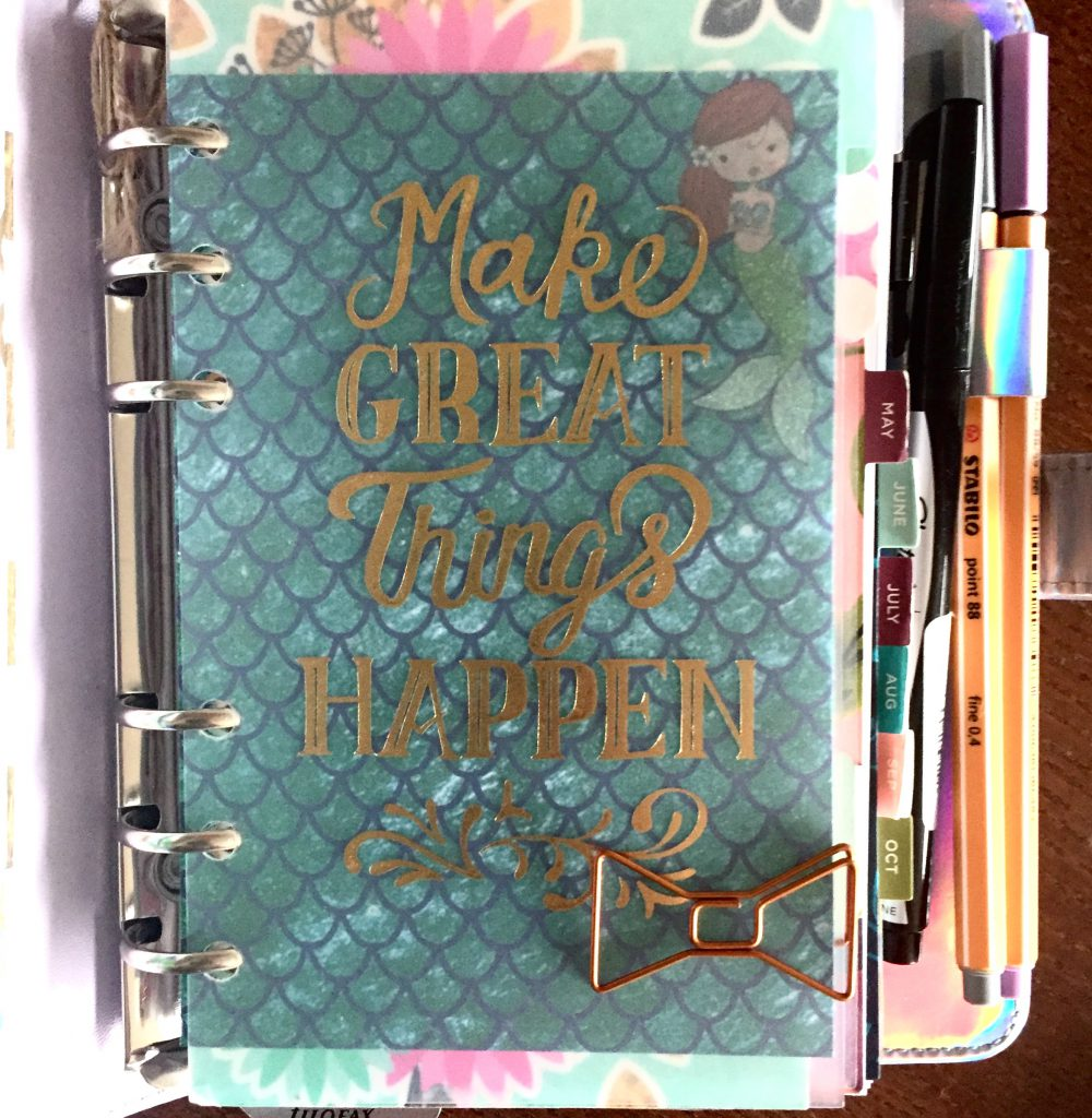 """Happy As Annie: I used the mermaid scale cardstock adn one of the mermaid stickers that came in the June Planner Girl Provisions """"Mermaid Off Duty"""" box to create a fun dashboard for my hologram Recollections planner from Michaels."""