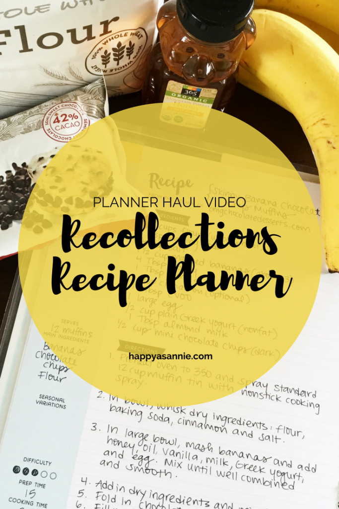 Happy As Annie Planner Haul Video featuring the Recollections Recipe Planner