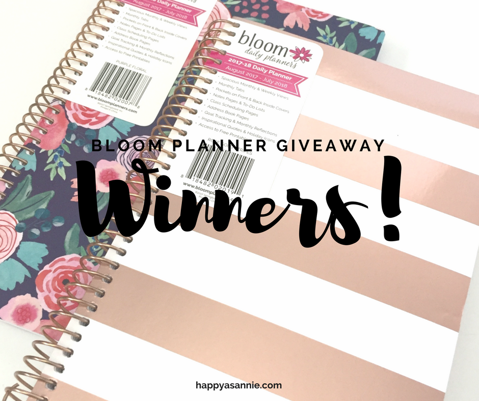 Announcing Happy As Annie's Bloom Planner Giveaway Winners!