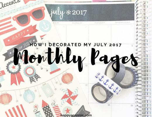 Take a look at how I decorated the July 2017 monthly pages in my Erin Condren Life Planner using red, white, and blue stickers and washi tape. Subscribe to happyasannie.com for more planner and organization tips and ideas!