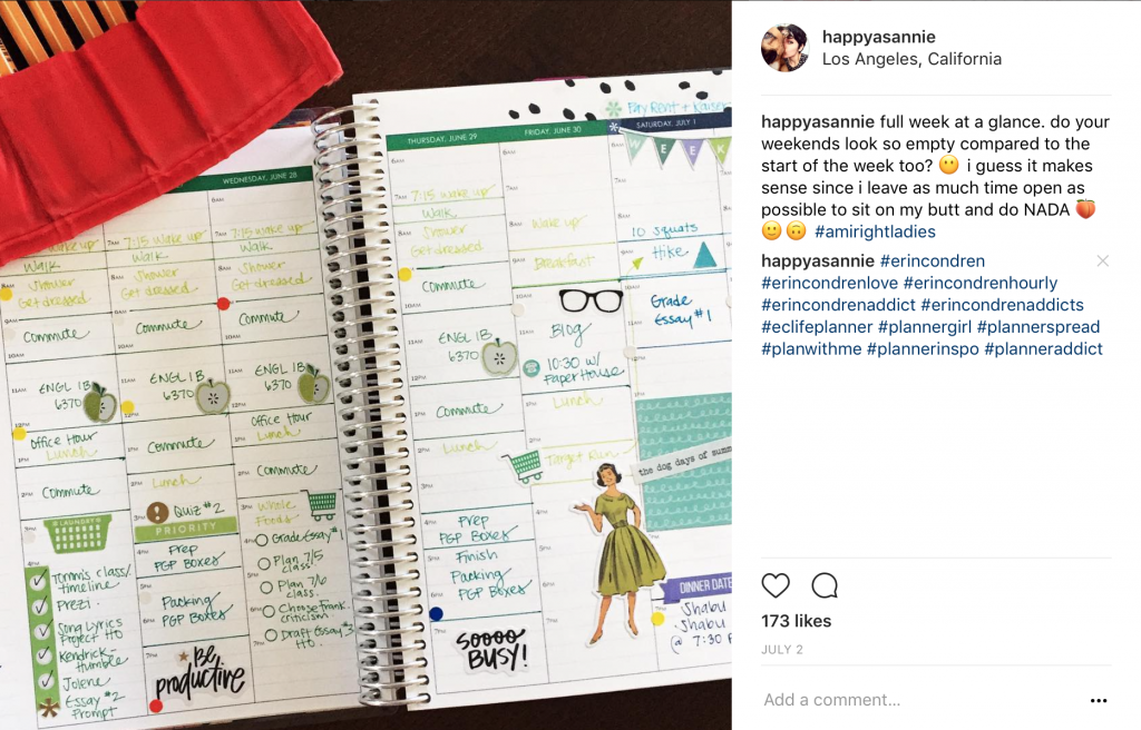 Trying out color coding and stickers in my Hourly Erin Condren Life Planner