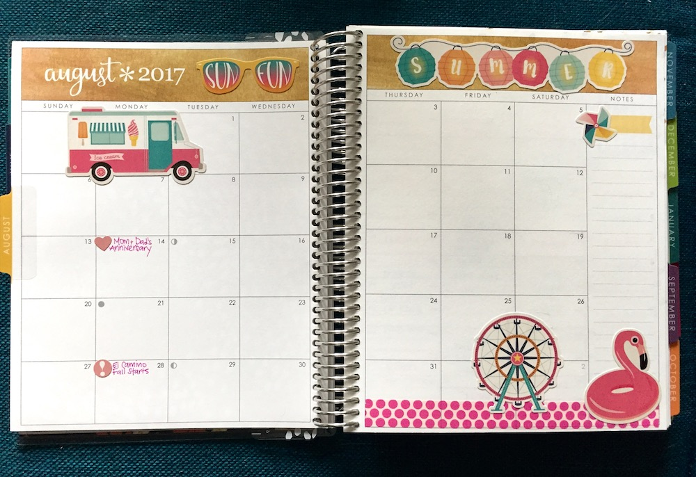 The August monthly pages in my Erin Condren Life Planner.