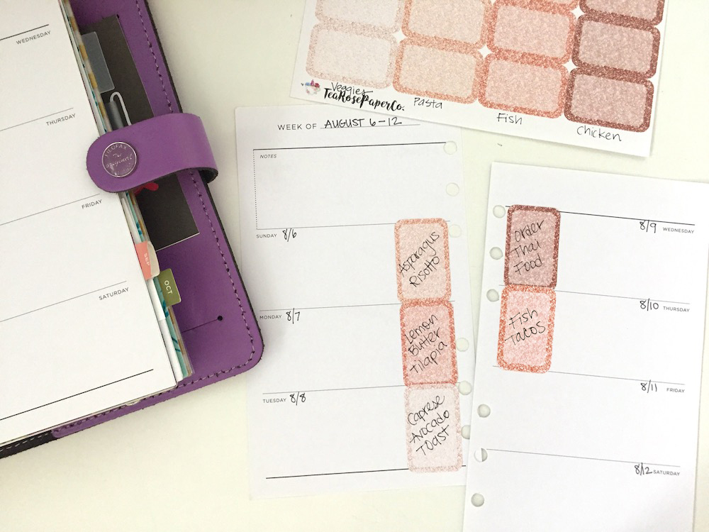 How to meal plan using color-coded half box planner stickers.