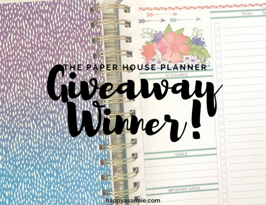 Announcing the lucky winner of the Happy As Annie giveaway for an 18-month planner by Paper House!