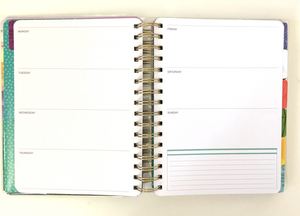 "Horizontal Weekly Layout of the undated ""Live Bold"" planner by Paper House."