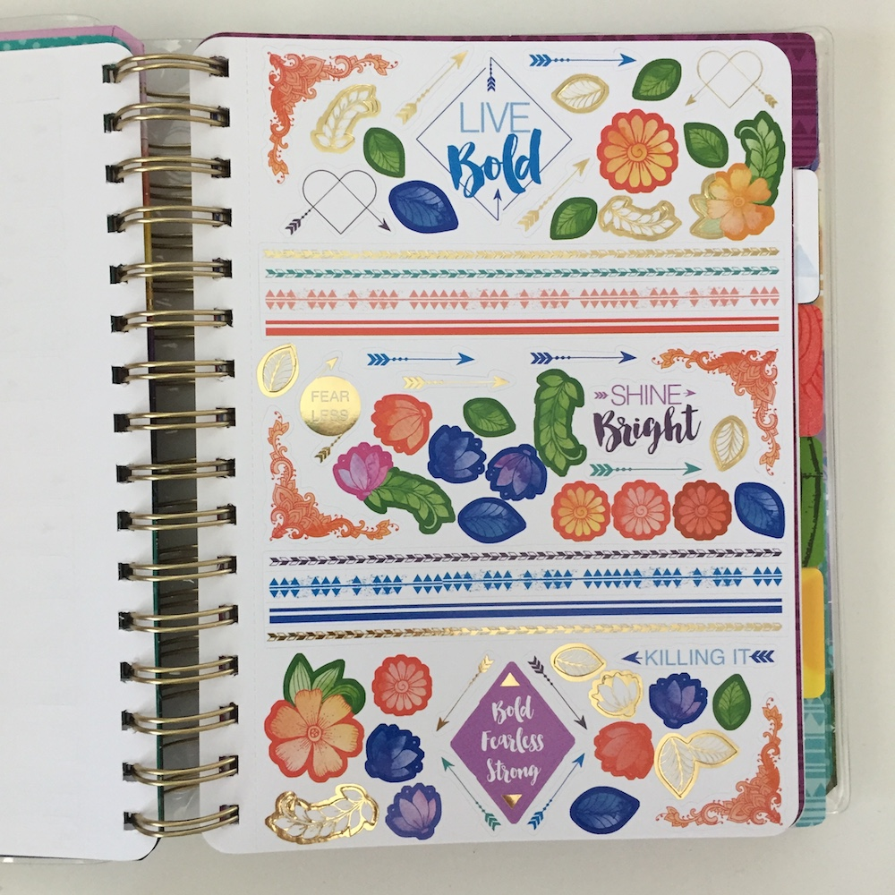 The Live Bold undated planner by PaperHouse comes with two sheets of stickers at the front of the planner.
