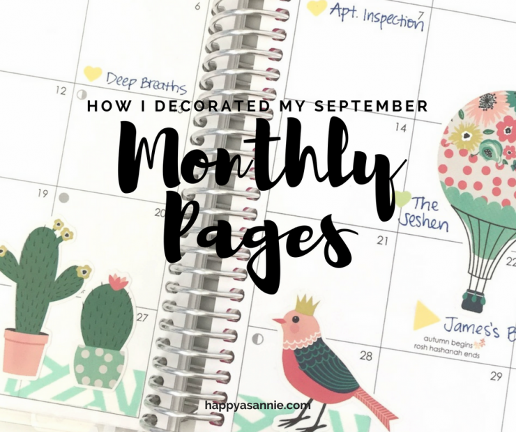How I Decorated the September Monthly Pages in My Erin Condren Life Planner. I used a bold and colorful sticker sheet by Echo Park Paper to go with the deep purple theme for this month. See all the details.