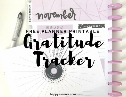 "FREE PLANNER PRINTABLE: This bullet journal-inspired ""Grateful Hits"" planner insert lets you track your daily gratitudes for the entire month. It was part of the November ""Very Vintage"" Planner Girl Provisions box and is now available as a #FreebieFriday printable for Happy As Annie subscribers."