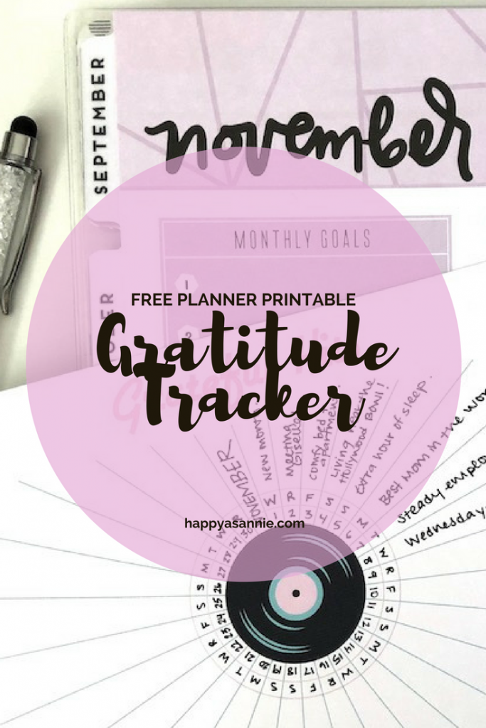 "FREE PLANNER PRINTABLE: This bullet journal-inspired ""Grateful Hits"" planner insert lets you track your daily gratitudes for the entire month. It was part of the November ""Very Vintage"" Planner Girl Provisions box and is now available as a free printable for Happy As Annie subscribers."
