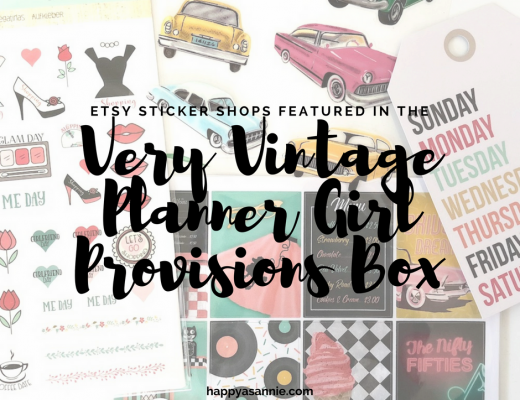 "Check out the Etsy planner sticker shops featured in the November ""Very Vintage"" Planner Girl Provisions box."
