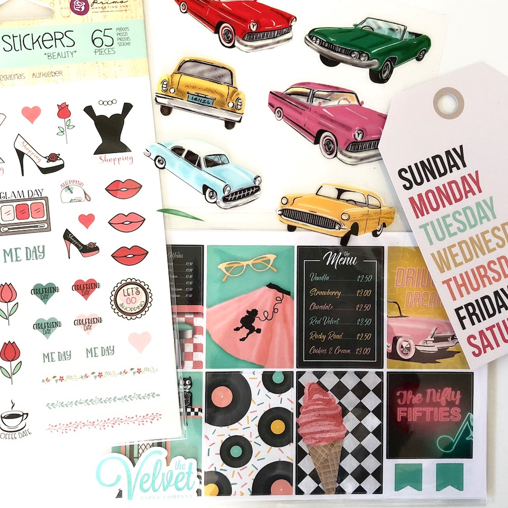 "The Nifty 50s Kit by The Velvet Paper Co. on Etsy was featured in the November ""Very Vintage"" Planner Girl Provisions box."