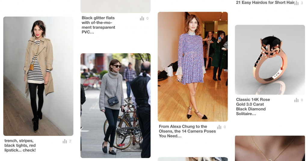 Revamp Your Wardrobe: Notice likes, repeats, and trends on your pinterst boards. I'm really into Alexa Chung apparently!