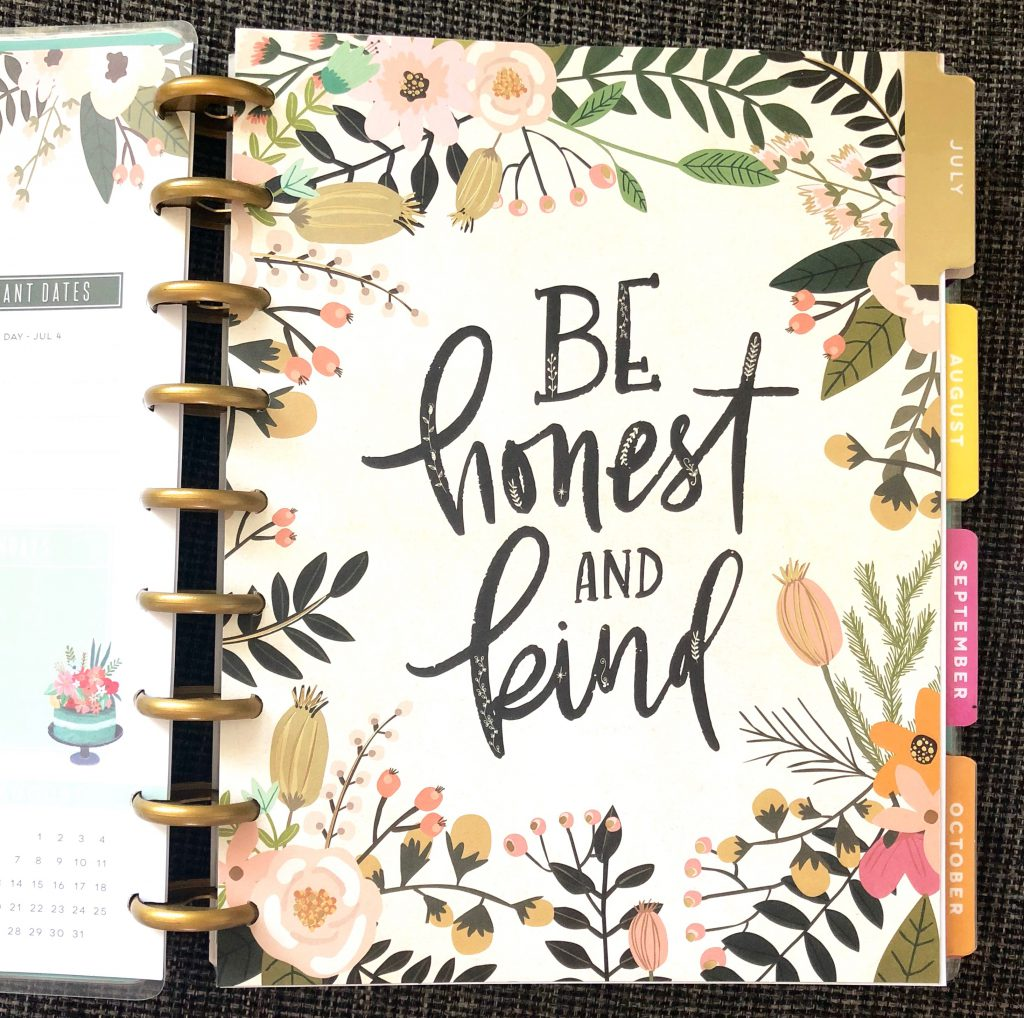 July divider in my new 2018-19 classic size Happy Planner