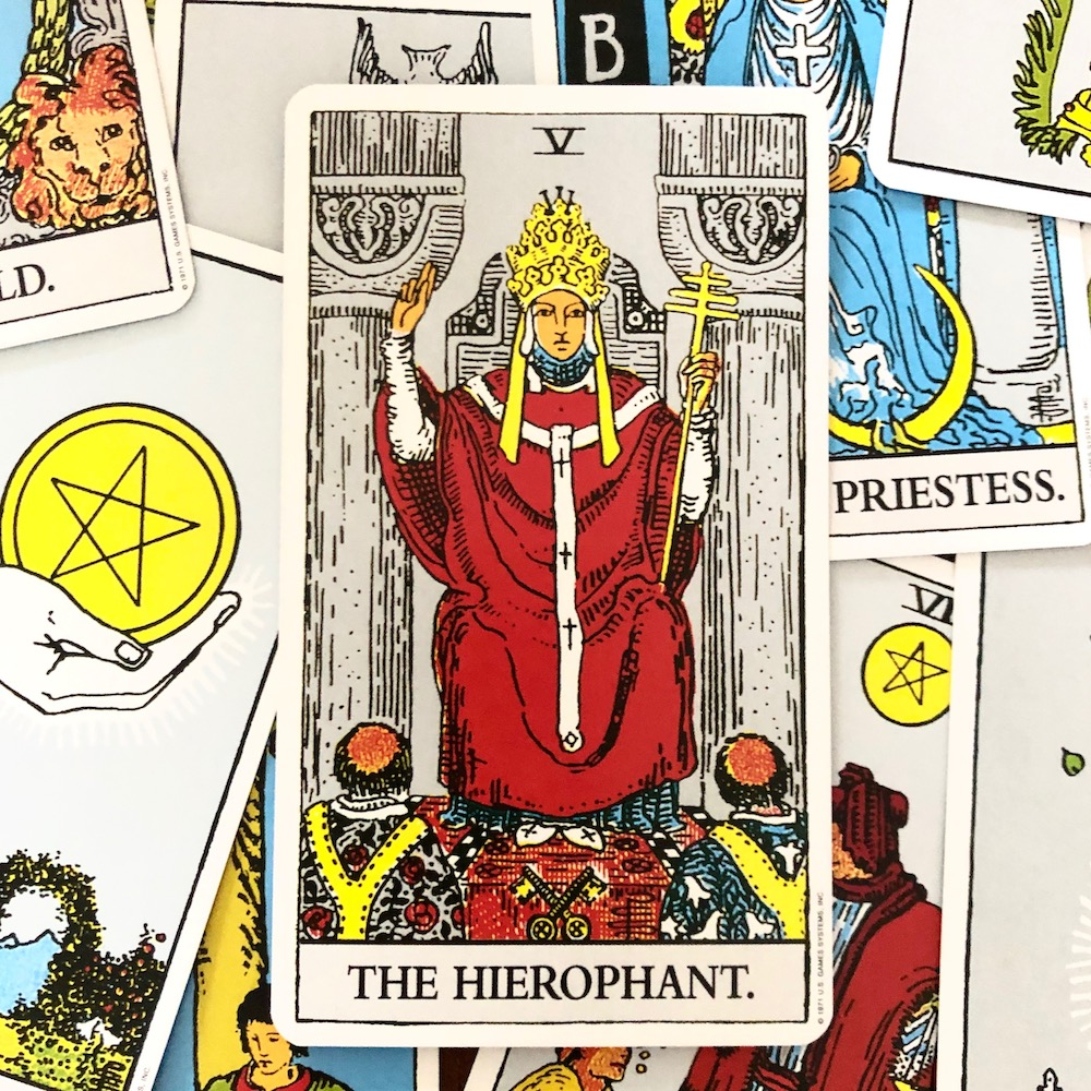 How to Use Tarot to Channel Taurus Energy | Happy As Annie. Taurus rules the Hierophant Tarot Card. Channel your inner Taurus and Hierophant energy in a way that serves your highest good. #taurus #astrology #tarot #tarotcards #horoscope #zodiac (Hierophant tarot card from Rider Waite tarot deck)