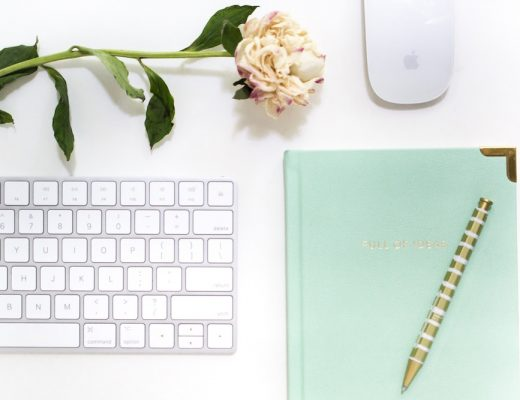 """Mint green """"Full of Ideas"""" notebook, gold pen, flower, and keyboard and mousepad on white table"""