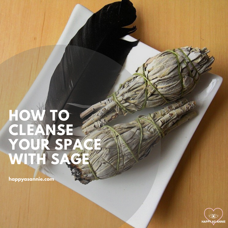 How to Burn Sage | How to Cleanse a Space with Sage | Happy As Annie. How and why to burn sage to cleanse a space of negative energies. Practical tips and a step-by-step guide. #sage #burnsage #sagesmudge #sagewand