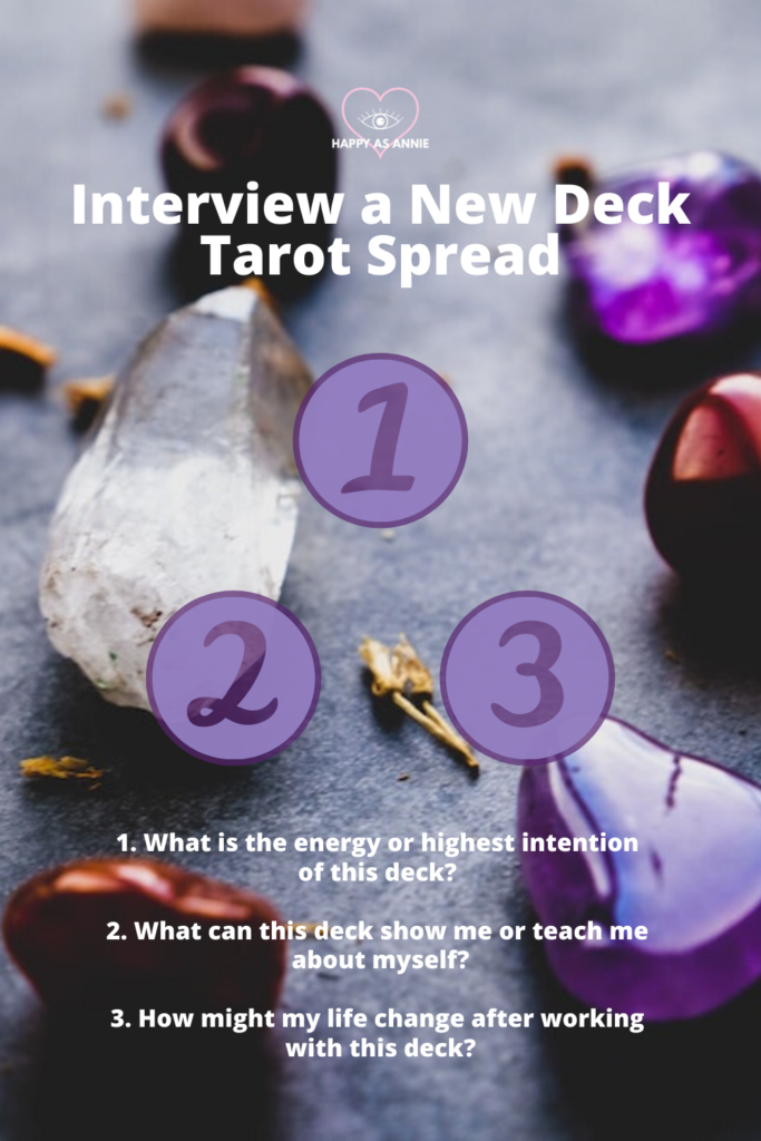 Here's a simple three-card tarot spread I created for interviewing a new tarot deck. How to Break In a New Tarot Deck | Happy As Annie