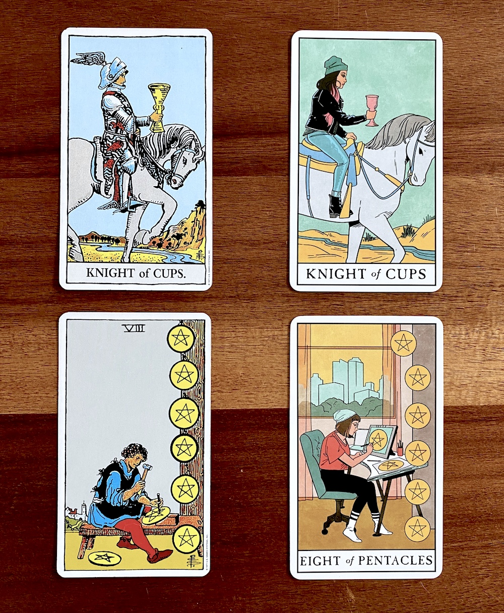 How to Choose a Tarot Deck for Beginners | Happy As Annie - The Modern Witch Tarot Deck is a fresh, multicultural, more inclusive, and millennial-friendly update to the classic Rider-Waite tarot deck. (Knight of Cups and 8 of Pentacles tarot cards from two differnet decks side by side)