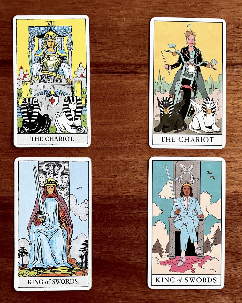 The Modern Witch Tarot Deck is a fresh, multicultural, more inclusive, and millenHow to Choose a Tarot Deck for Beginners | Happy As Annie - nial-friendly update to the classic Rider-Waite tarot deck. (The Chariot and King of Swords tarot cards from two different decks side by side)