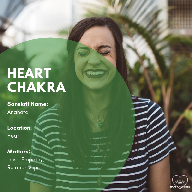 Chakras 101 | Happy As Annie | The heart chakra (Anahata in Sanskrit) is located at the heart and manages matters of love, empathy, and relationships.