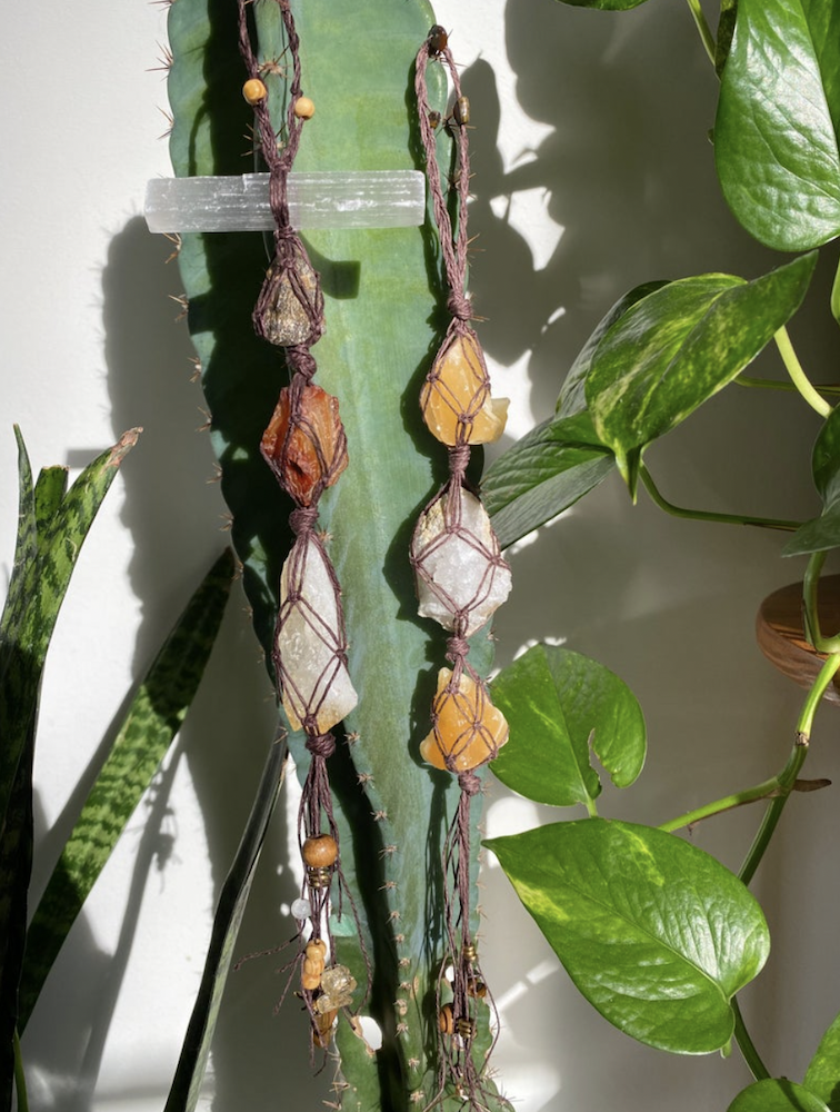 Tiger's Eye and Orange Calcite Crystal Moon Boutique Wall Hangings