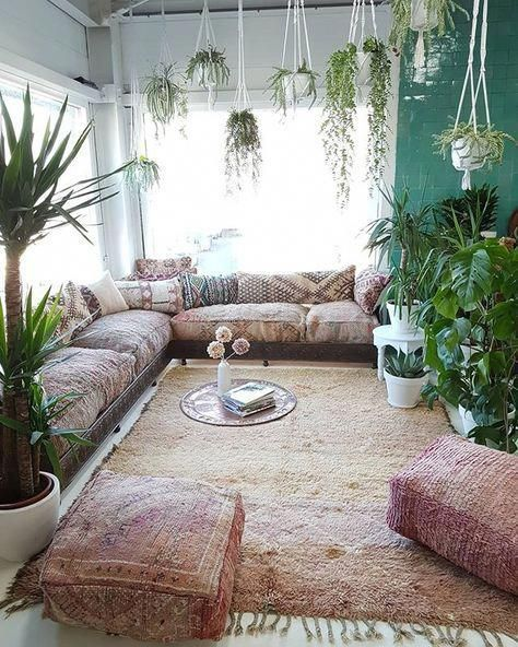 Happy As Annie | 7 Meditation Room from Pinterest You Ned to Copy - and how to get the look! (Meditation room with lots of hanging plants and cushions)