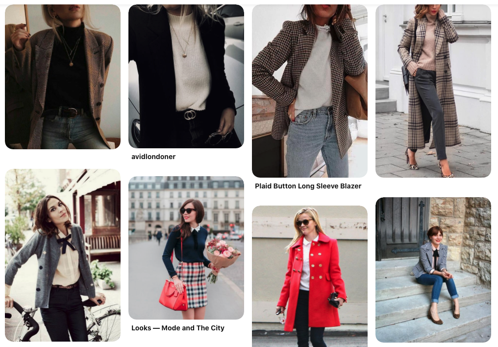 How to Discover Your Authentic Style | Happy As Annie (Screenshot of Pinterest board with pins of women in sweaters and menswear-inspired outerwear)