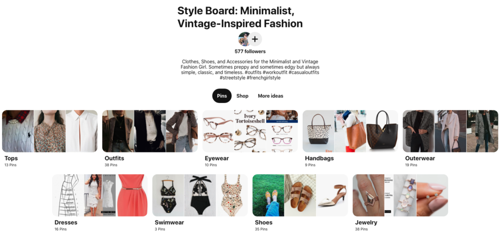 How to Discover Your Authentic Style | Happy As Annie (Screenshot of Pinterest style board divided into sections like tops, outfits, eyewear, and more.)