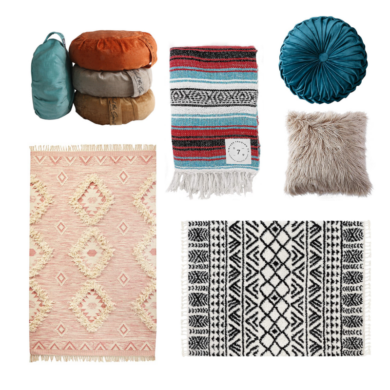 Happy As Annie | 7 Meditation Room from Pinterest You Ned to Copy - and how to get the look! (Collage of meditation cushions and other textiles for meditation room from Buddha Groove and Amazon)