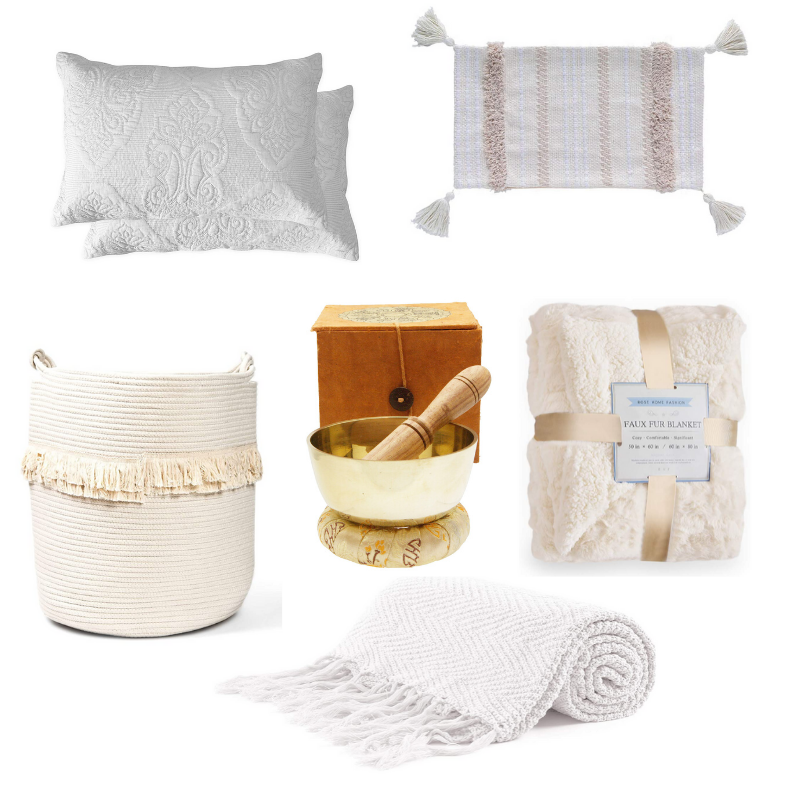 Happy As Annie | 7 Meditation Room from Pinterest You Ned to Copy - and how to get the look! (Collage of white and neutral textiles, cushions, and meditation items from Amazon and Buddha Groove)