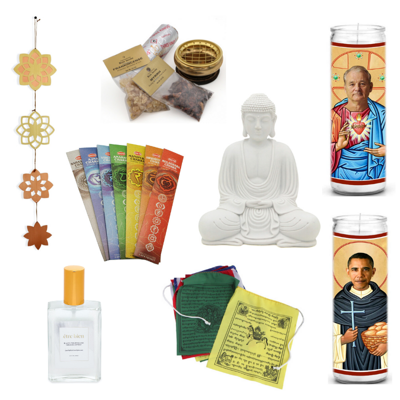 Happy As Annie | 7 Meditation Room from Pinterest You Ned to Copy - and how to get the look! (Collage of incense, candles, and other spiritual items from Buddha Groove and Amazon)