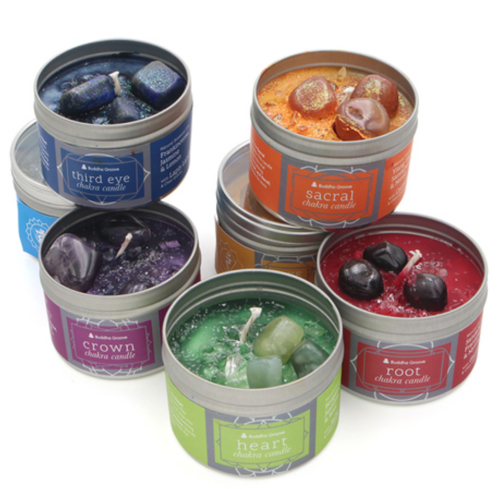Chakra Gemstone Candles With Essential Oils from Buddha Groove