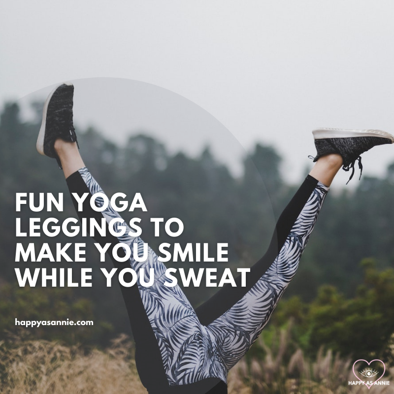Fun Yoga Leggings to Make You Smile While You Sweat | Happy As Annie. 9 pairs of fun yoga leggings at every budget