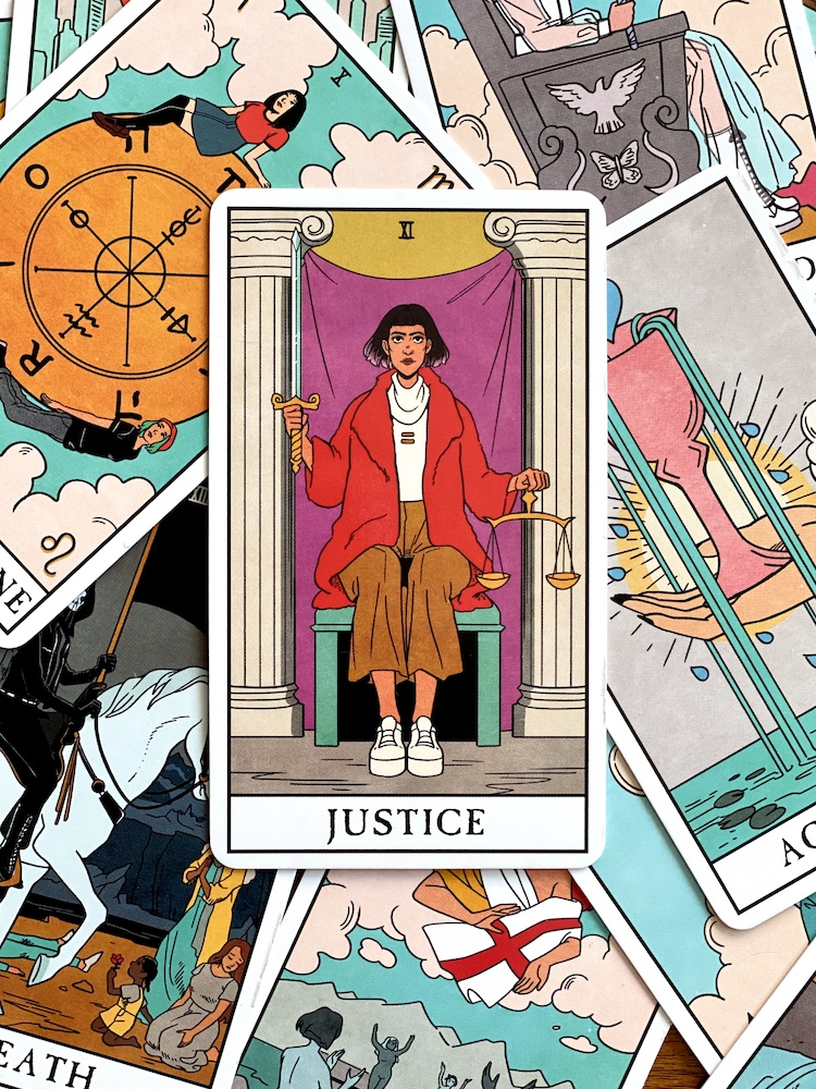 The Justice card from the Modern Witch tarot deck