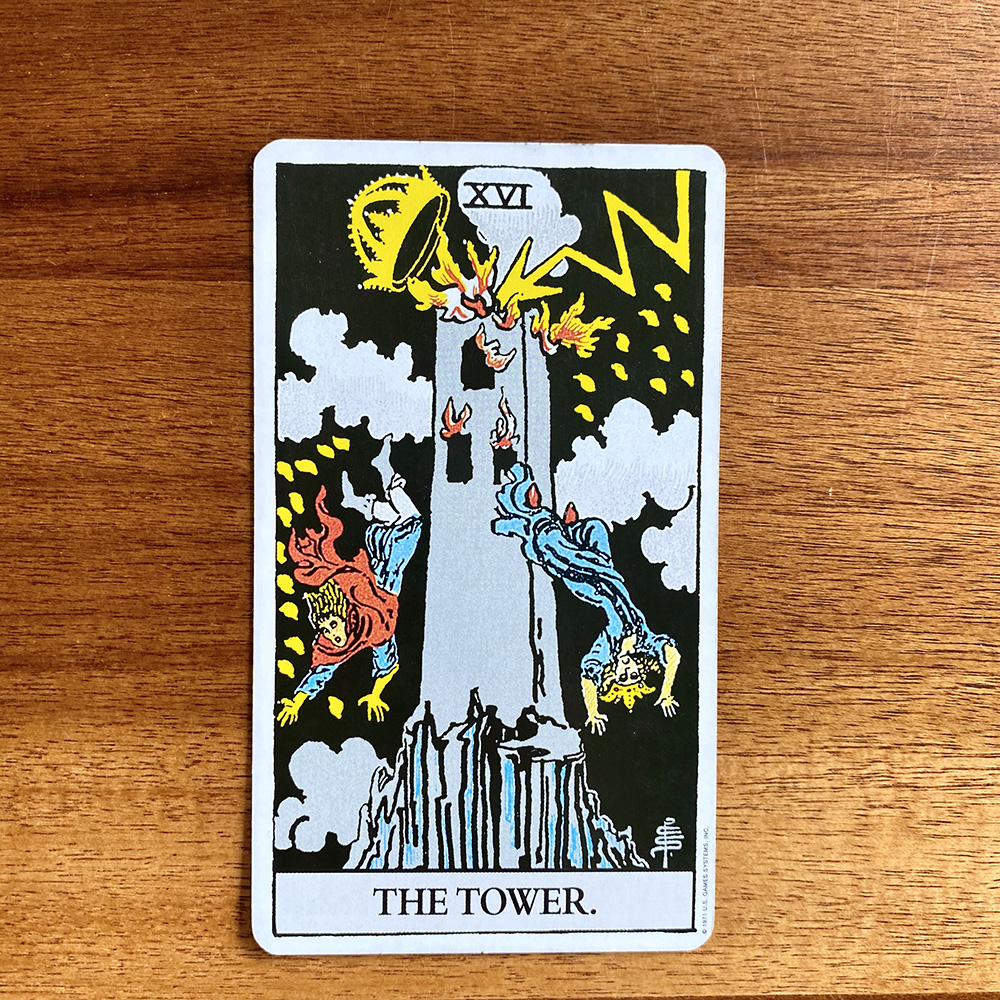 The Tower tarot card in the Rider-Waite-Smith tarot deck