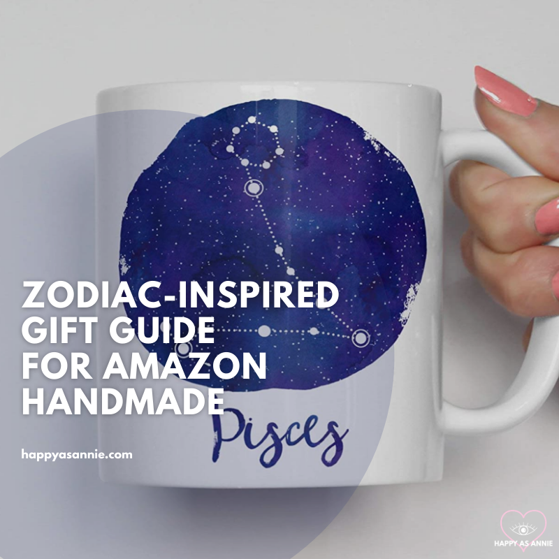Zodiac-Inspired Gift Guide for Amazon Handmade | Happy As Annie. Cute gifts for all twelve signs of the zodiac, featuring this PIsces mug by Heart and Willow Prints available on Amazon Handmade