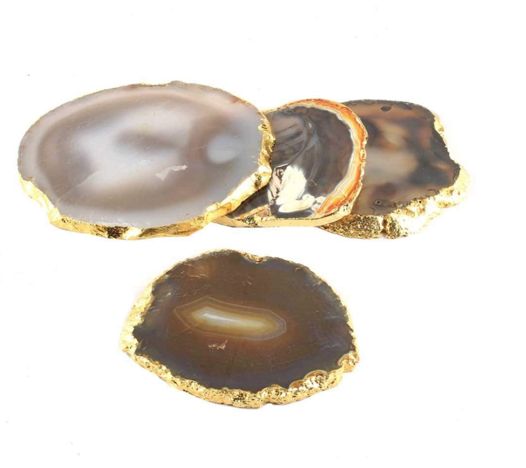Set of 4 handmade agate geode coasters on The Ultimate Witchy Gift Guide by Happy As Annie