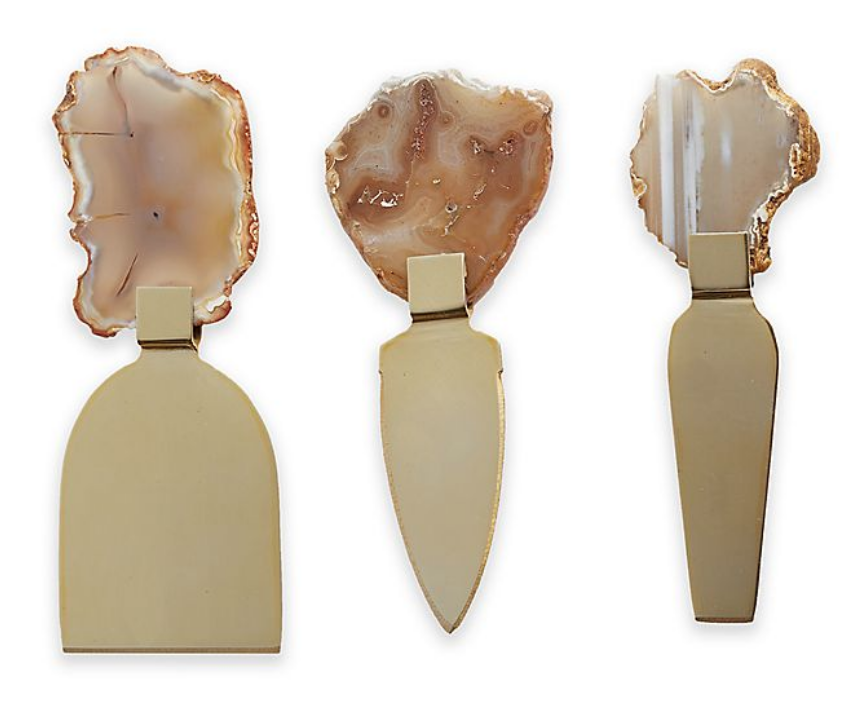 Gold Agate Slice 3 Piece Cheese Knife Set with gift box on The Ultimate Witchy Gift Guide by Happy As Annie