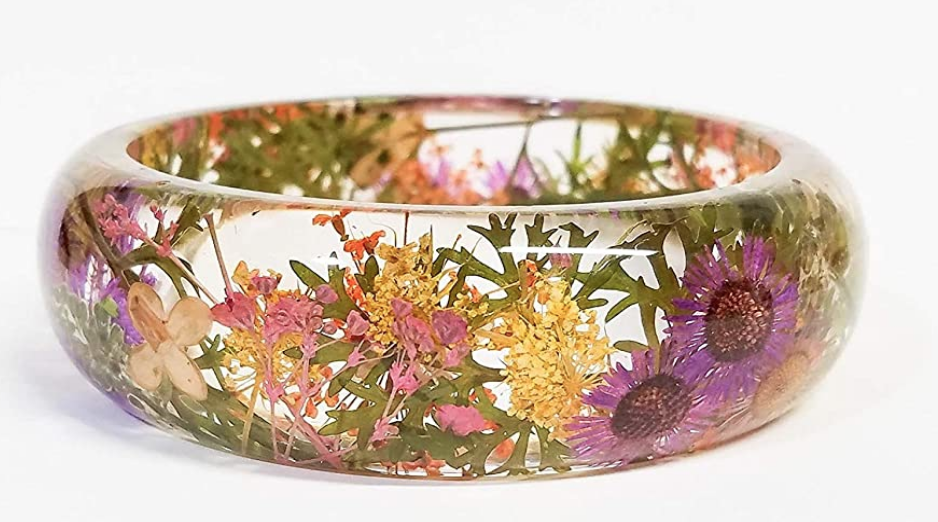 Real pressed flower handmade bangle on The Ultimate Witchy Gift Guide by Happy As Annie