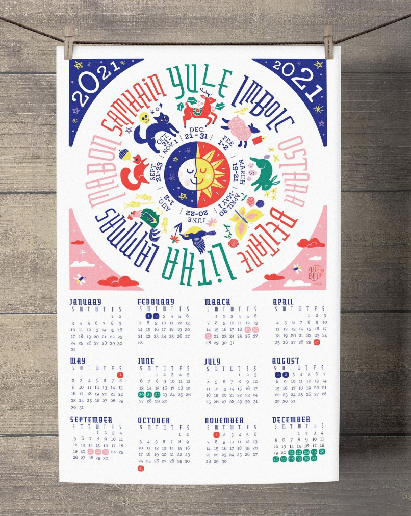 Wheel of the Year Calendar for 2021 by Allison Beilke Designs on Etsy on The Ultimate Witchy Gift Guide by Happy As Annie