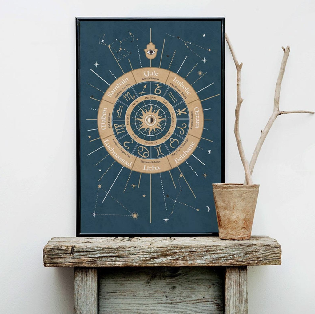 Framed Wheel of the Year poster size art print by Occultology on The Ultimate Witchy Gift Guide by Happy As Annie