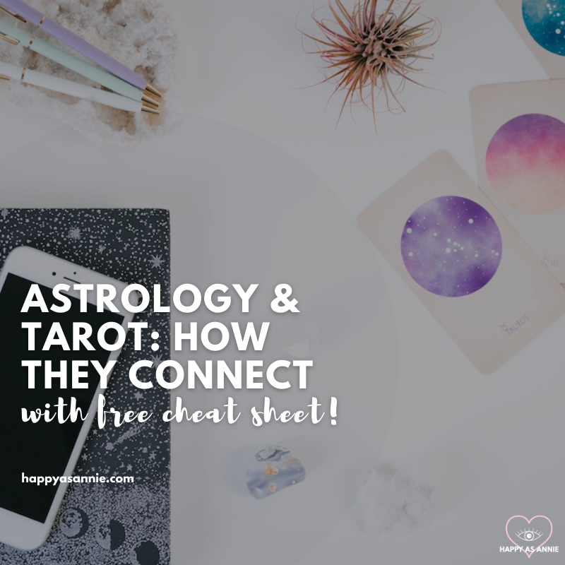 Tarot and Astrology: How Tarot and the Zodiac Connect. Download this free tarot and zodiac cheat sheet to keep the correspondences straight! How does astrology relate to the Major Arcana as well as the Minor Arcana in tarot? #tarot #astrology #tarotandastrology #learntarot #astrologyandtarot