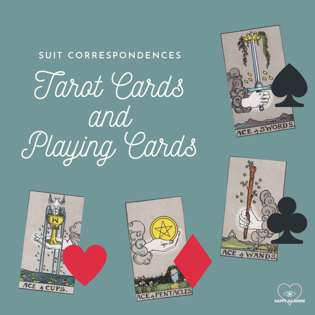 Suit Correspondences between Tarot Cards and Playing Cards by Happy As Annie. Cups are Hearts, Pentacles are Diamonds, Wands are Clubs, and Swords are Spades.