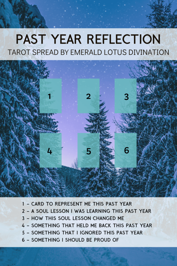 Past Year Tarot Spread by Emerald Lotus Divination | 9 Ways to Celebrate the Winter Solstice or Yule by Happy As Annie