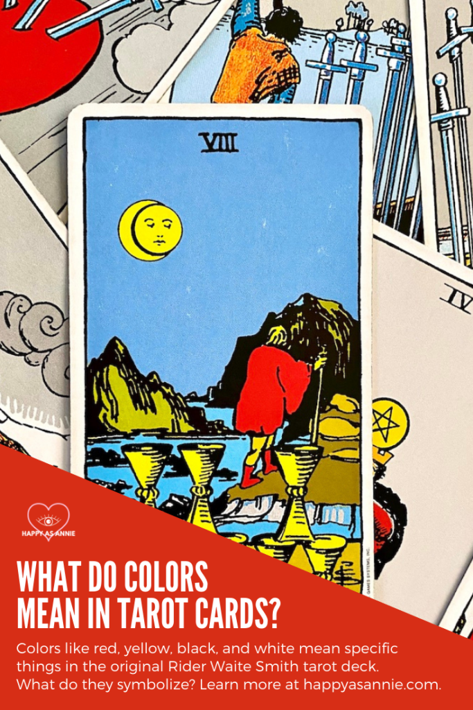 Understanding color symbolism in tarot cards is an important part of working with tarot. Learn the meaning of the most essential colors in tarot, including the meaning of red, yellow, black, and white, in the tarot cards. Knowing the meanings of these colors will improve your understanding of the cards and help you get better at reading tarot cards. #colorsymbolism #colorsintarot #colorcorrespondences #colormeanings #meaningofcolors