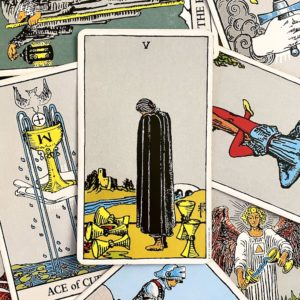Five of Cups in Rider Waite Smith tarot deck